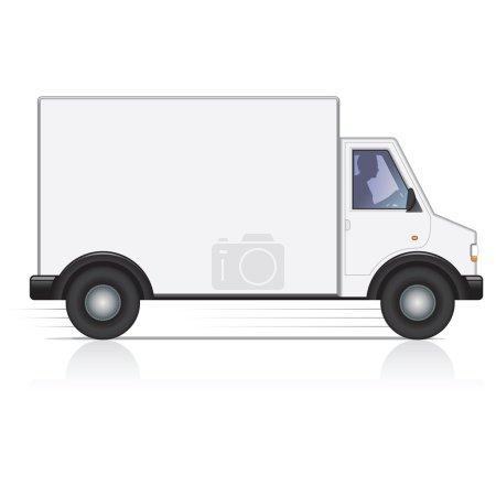 Photo pour Véhicule commercial blanc avec le côté blanc pour obtenir votre copie, logo ou marque. - image libre de droit