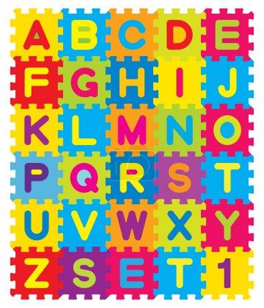 Photo pour Alphabet jouet d'enfant. morceaux de puzzle coloré qui enclenchent et connecter ensemble - image libre de droit