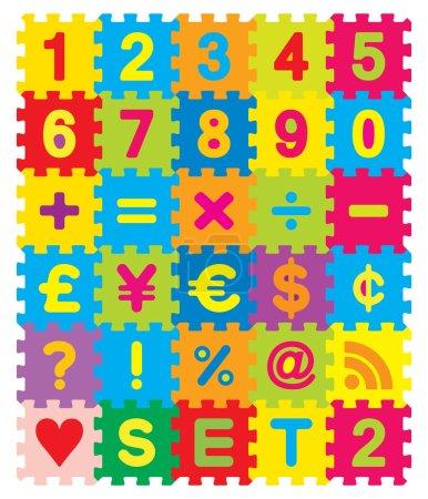 Photo pour Morceaux de puzzle coloré qui enclenchent et connecter entre eux et ont des nombres, les mathématiques, les monnaies et autres symboles sur eux. - image libre de droit