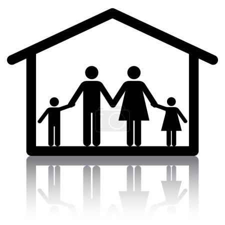 Photo pour Famille, tenant par la main à l'intérieur d'une maison. image conceptuelle ou icône pour les sujets liés à la famille Accueil et logement. - image libre de droit