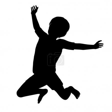 Photo pour Silhouette d'un jeune enfant sain sautant haut dans l'air. - image libre de droit