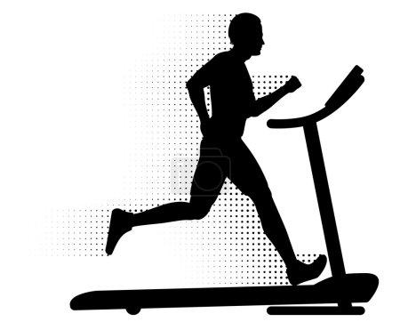 Photo pour Silhouette d'un homme qui court sur un tapis roulant avec sentier motion demi-teinte. - image libre de droit