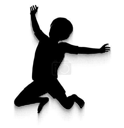 Photo pour Silhouette d'un enfant heureux de sauter haut dans l'air avec un sentier de motion modèle demi-teinte - image libre de droit