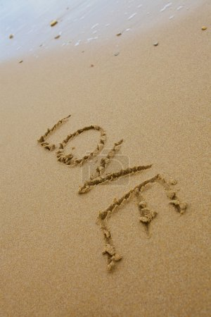 Photo for Love inscription on the sand - Royalty Free Image