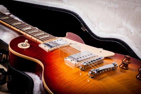 Sunburst Electric Guitar Body Laying in Guitar Case