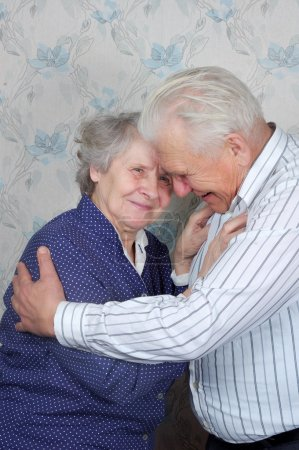 Photo for Happy senior couple embrace each other - Royalty Free Image