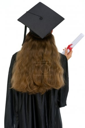 Graduation female student with diploma standing back