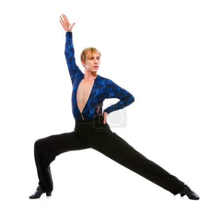 Ballroom male dancer posing on white background