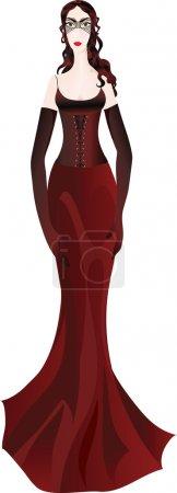 Illustration pour Belle femme en robe bordeaux chic et masque de mascarade - image libre de droit