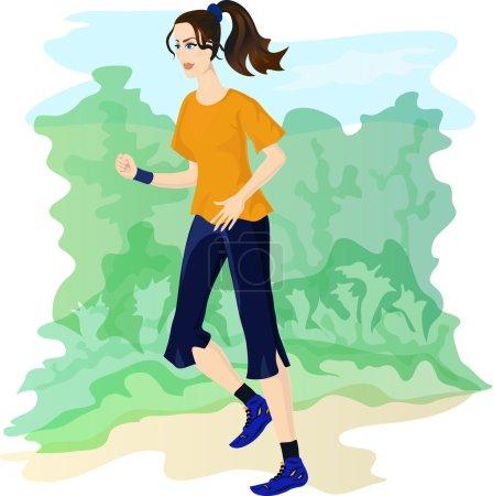 Illustration for Sporty jogging girl. Eps 10 - Royalty Free Image