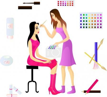 Illustration pour Maquilleuse et sa cliente, et divers accessoires cosmétiques. Eps 10 - image libre de droit