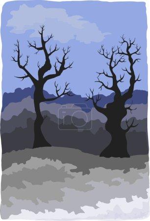 Paysage hivernal sombre avec des arbres fantaisistes. Eps 10