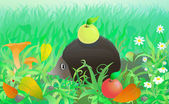 Funny hedgehog with apple in the forest among autumn grass leaves and mushrooms Eps 10