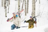 Couple on ski vacation.