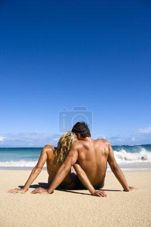 Couple on beach.