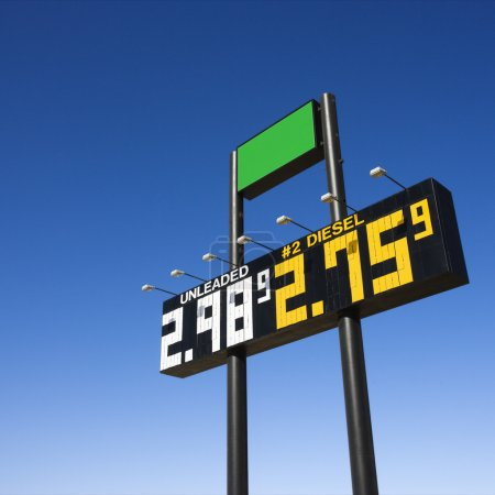 Photo for Sign displaying gasoline prices. - Royalty Free Image