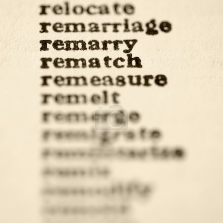 List of words in alphabetical order including words remarry and rematch.