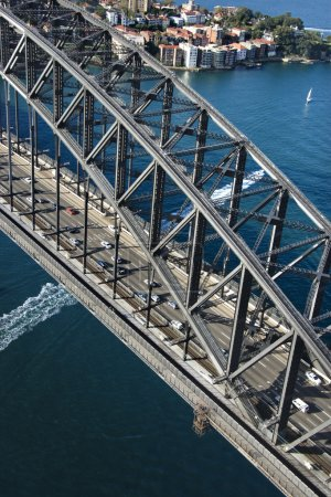 Detail aerial view of Sydney Harbour Bridge in Syd...