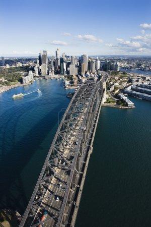 Aerial view of Sydney Harbour Bridge and skyline i...