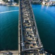 Aerial view of Sydney Harbour Bridge and cityscape...