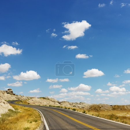 Photo for Scenic roadway in Badlands National Park, North Dakota. - Royalty Free Image