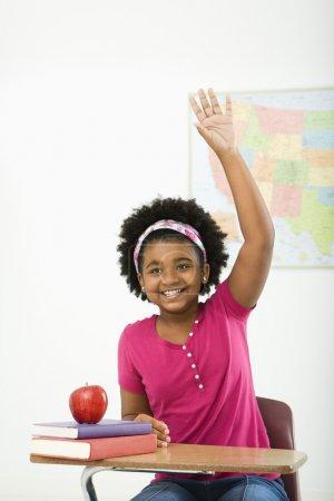 Smiling schoolgirl.