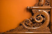 Ornate wooden carving.