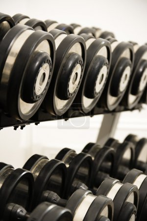 Photo for Rack of hand weights on rack. - Royalty Free Image