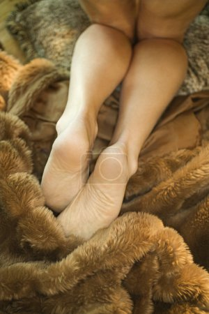 Woman on fur.