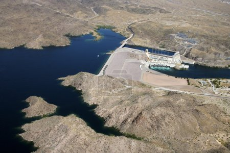 Aerial of Davis Dam on the border of Arizona and N...