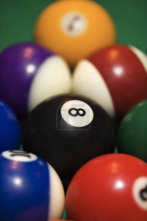 Rack of pool balls.