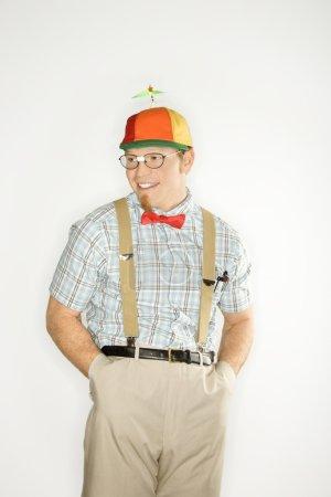 Man dressed like nerd.