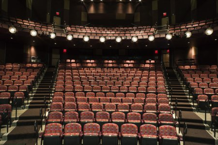 Photo for Rows of empty seats in theater seen from stage. Horizontal shot. - Royalty Free Image