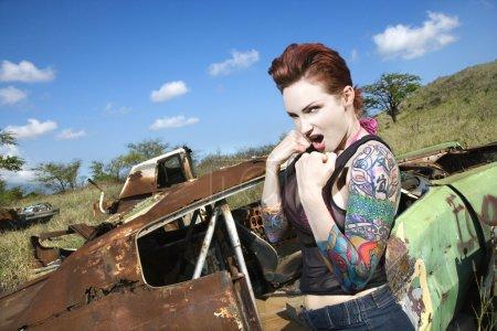 Sexy tattooed woman.
