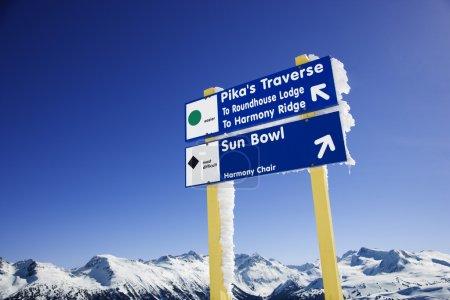 Ski resort trail signs.