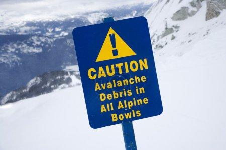 Snow ski caution sign.