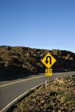 Curve in road sign.