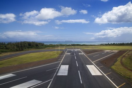 Photo for Aerial view of airport runway on coastline of Maui, Hawaii. - Royalty Free Image