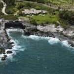 Aerial view of rocky coastline on Maui, Hawaii wit...