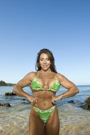 Woman bodybuilder.