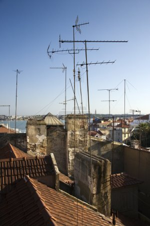 Roofs with antennas.