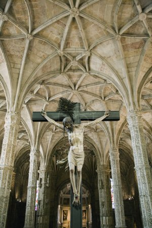 Photo for Crucifixion scene in Jeronimos Monastery. - Royalty Free Image