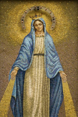 Mosaic of the Virgin Mary Wearing a Crown