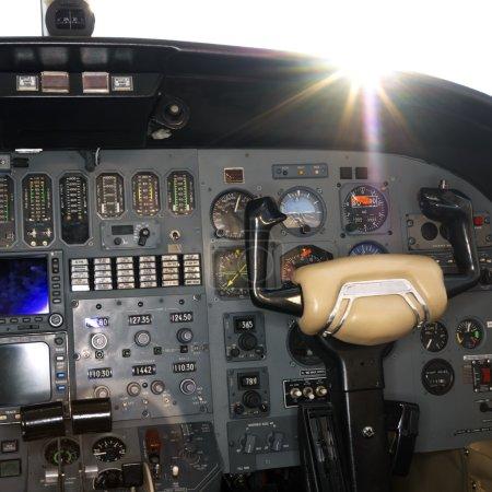 Interior shot of a airplane.