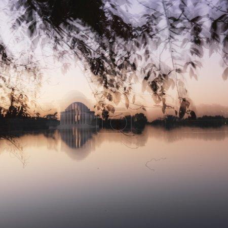 Blurred Jefferson Memorial.