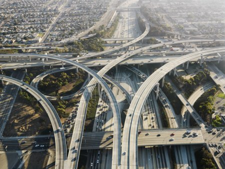 Photo for Aerial view of complex highway interchange in Los Angeles California. - Royalty Free Image