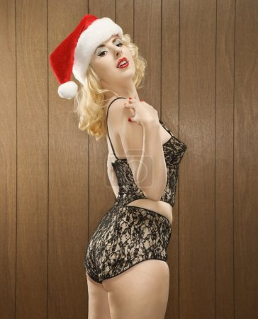 Woman in holiday attire.