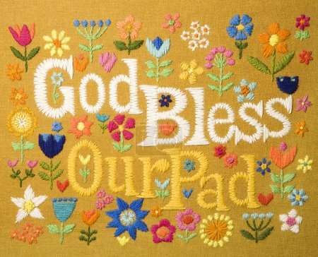 Vintage needlepoint wall hanging of colorful flowe...