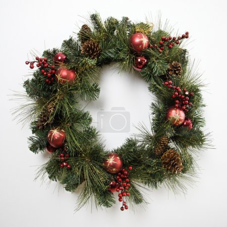 Photo for Christmas wreath on door. - Royalty Free Image