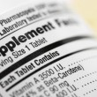 Closeup of a dietary supplement label listing the ...